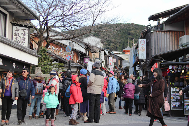 Crowded street in Higashiyama going to temple, Kyoto