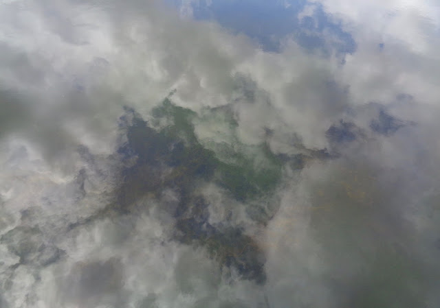 Clouds reflected on water