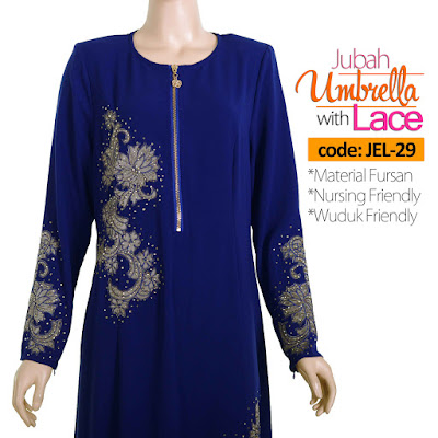 Jubah Umbrella Lace JEL-29 Blue Depan 6