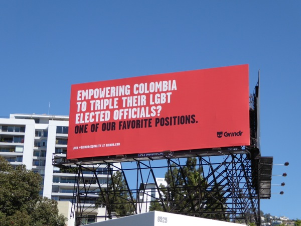 Colombia LGBT elected officials Grindr billboard