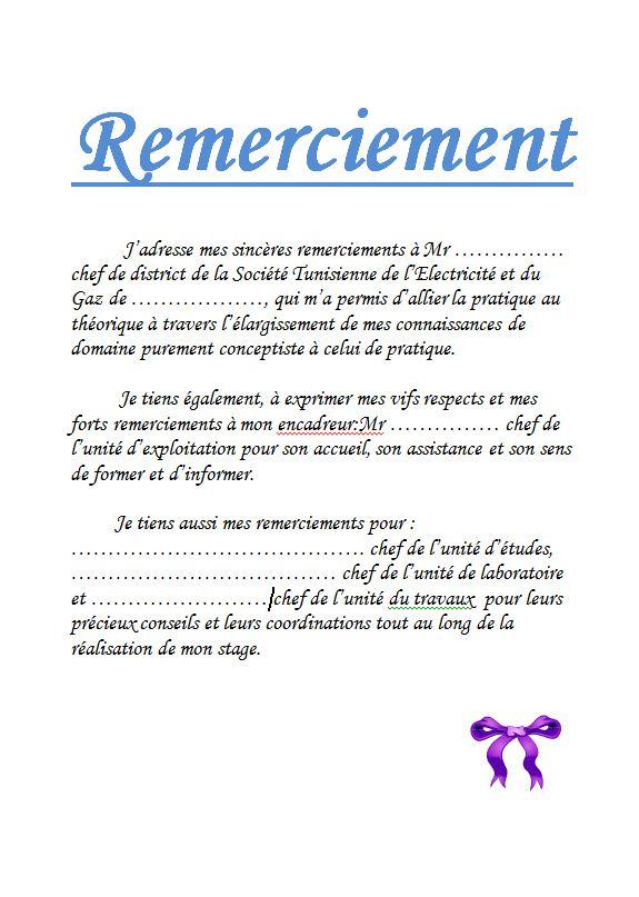 Exemple De Remerciement En Rapport De Stage 2 Cours Génie