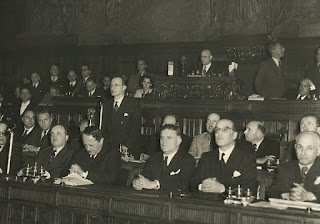 Prime minister Alcide de Gasperi addresses the Consituent Assembly in 1946. Mattei is in the third row, just behind him