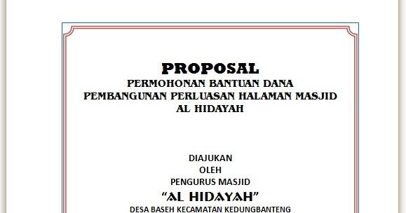 Contoh Proposal Permohonan Perluasan Halaman Masjid Kumpulan