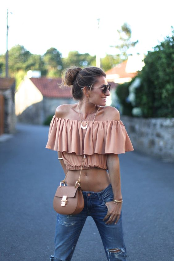 Bartabac - Off Shoulder Ruffle Crop Top + Chloe Drew Bag