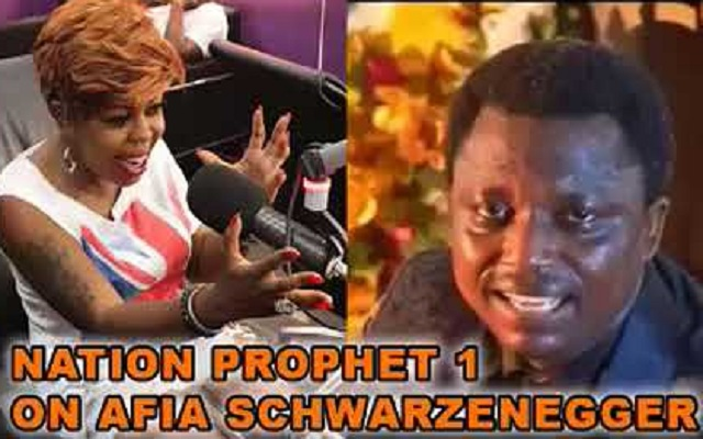 Afia Schwarzenegger (Left) and Nation's Prophet Dr. Ebenezer Adarkwa-Yiadom (Right)