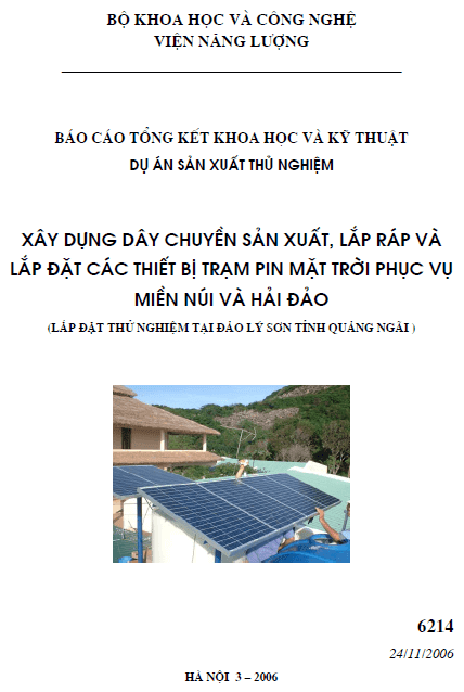 Xây dựng dây chuyền sản xuất, lắp ráp và lắp đặt các thiết bị trạm pin mặt trời phục vụ miền núi và hải đảo