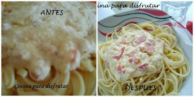 espaguetis con salsa cabonara
