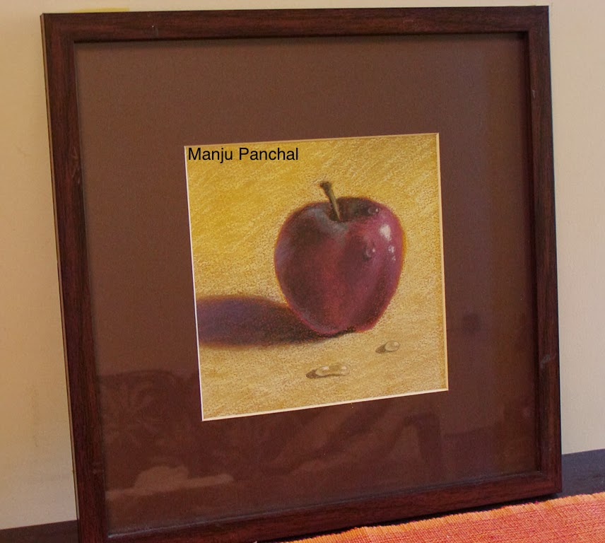 soft pastel painting of an apple