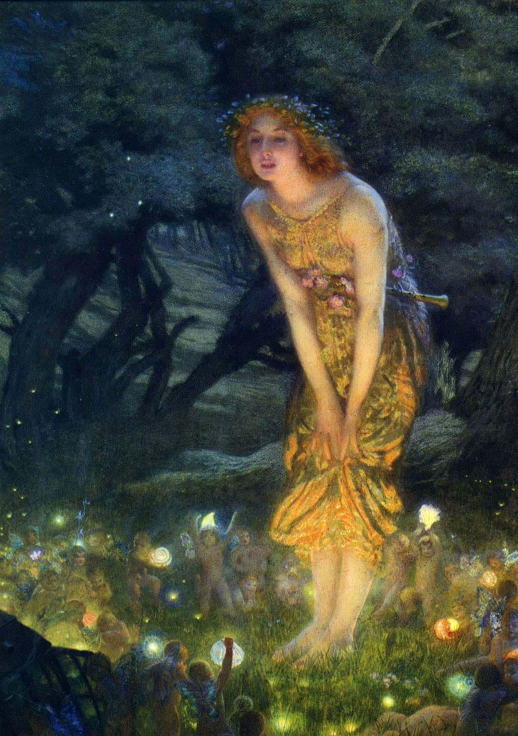 Crow Faery Laura: Midsummer Eve by Edward Robert Hughes