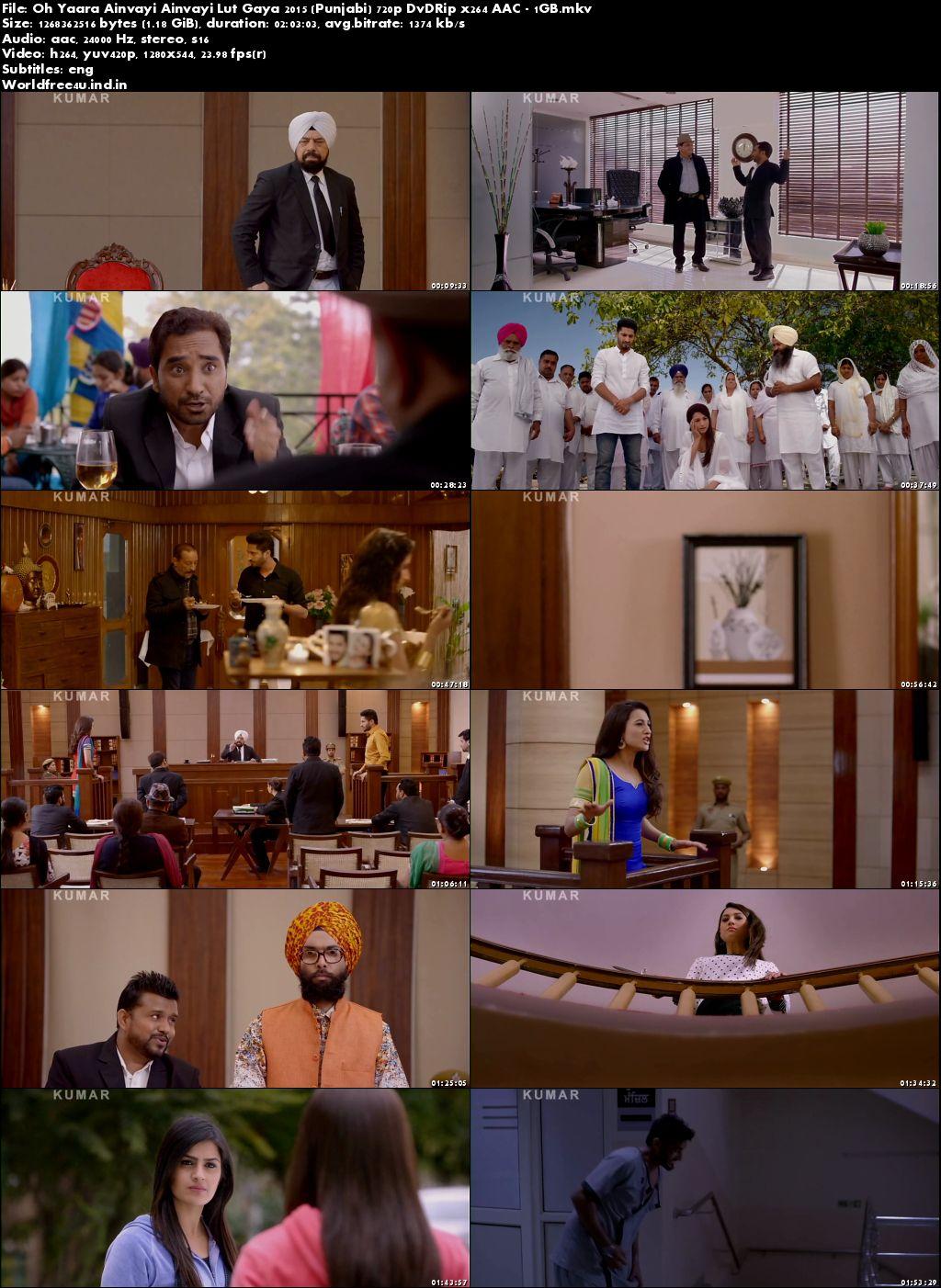 Screen Shoot of Oh Yaara Ainvayi Ainvayi Lut Gaya 2015 Full Punjabi Movie DVDRip 720p