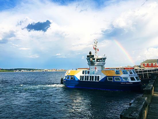 dartmouth ferry and rainbow