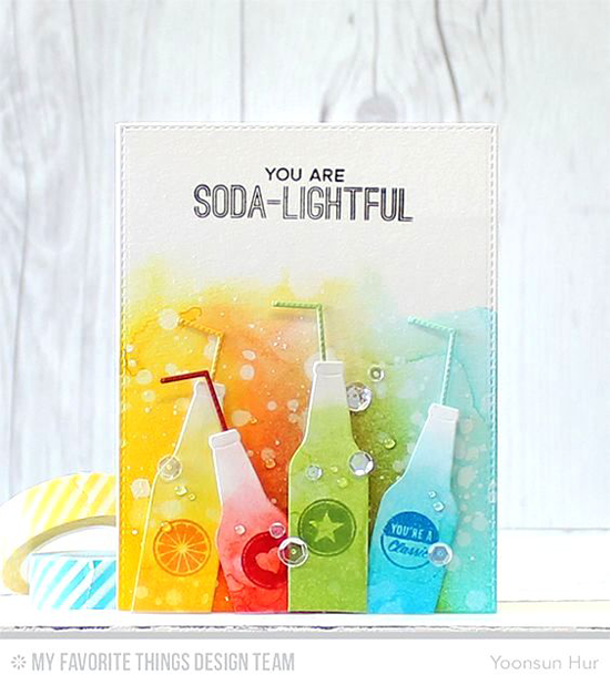 Handmade card from Yoonsun Hur featuring Laina Lamb Design Soda Pop stamp set and Soda Pop Bottles Die-namics #mftstamps