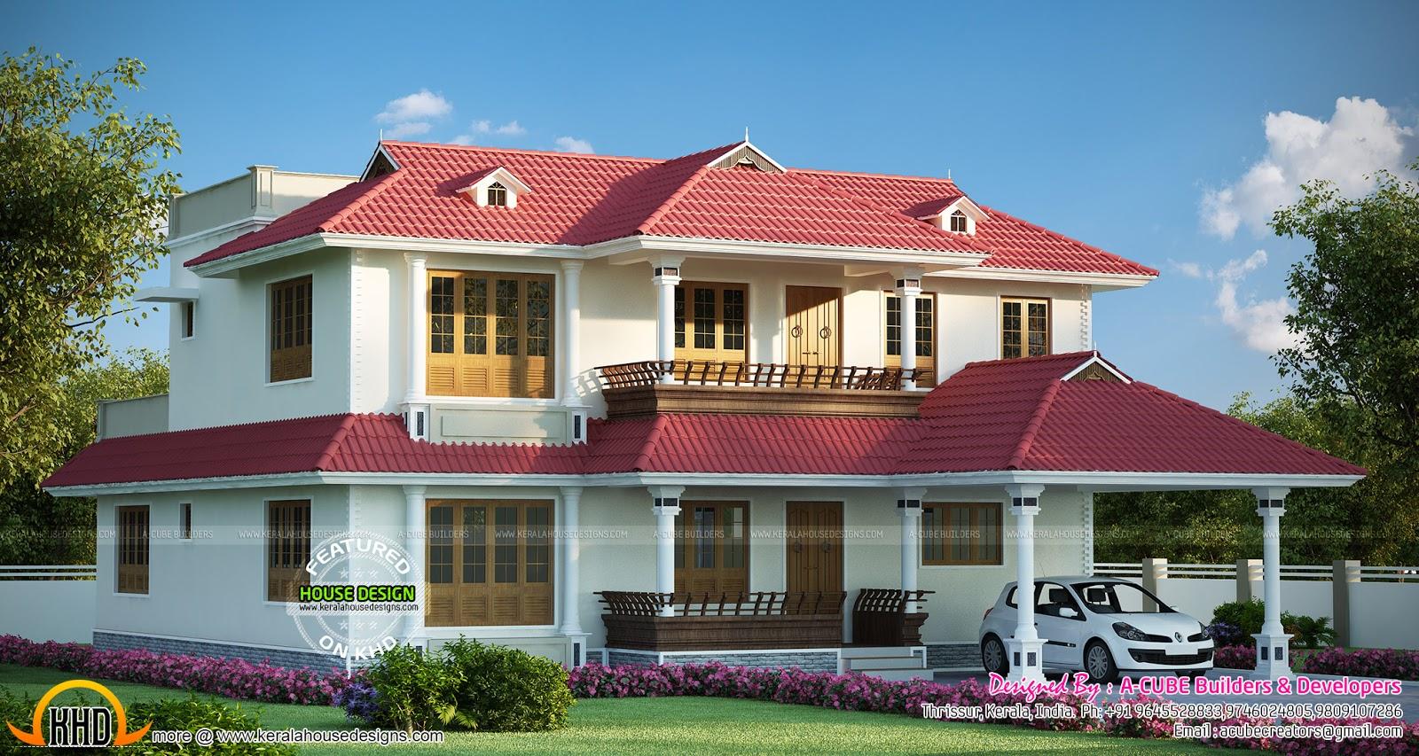 Gorgeous Kerala home design with floor plan  Kerala home