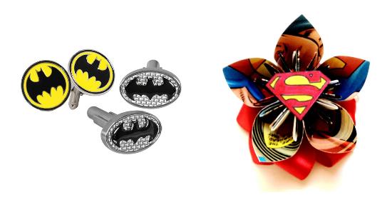 superhero wedding, Batman cufflinks and Superman boutonniere
