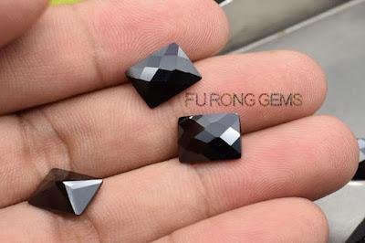 Checkerboard-CZ-Black-Color-Rectangle-with-culet-Gemstones