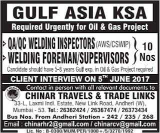 QC Welding Inspectors jobs in Saudi Arabia
