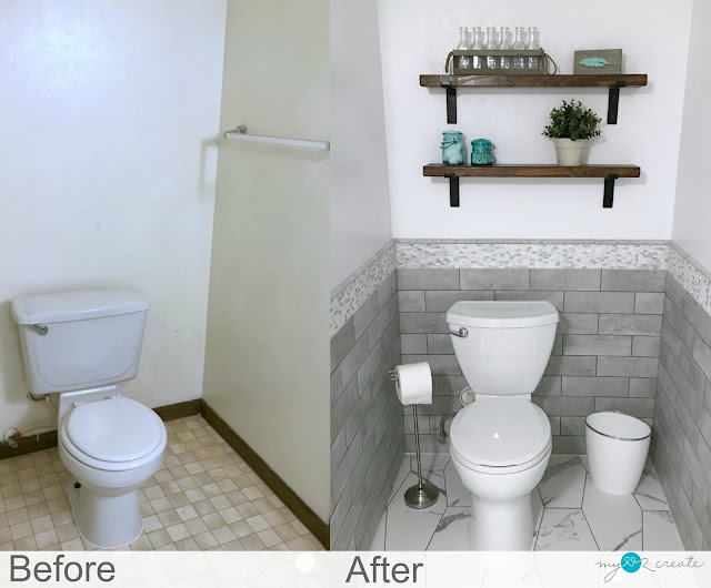 before and after of toilet area
