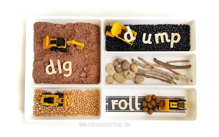Dig Dump Roll sensory bookish play tray