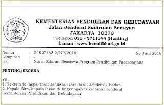 Program Beasiswa Pendidikan Pascasarjana Tahun 2016/2017