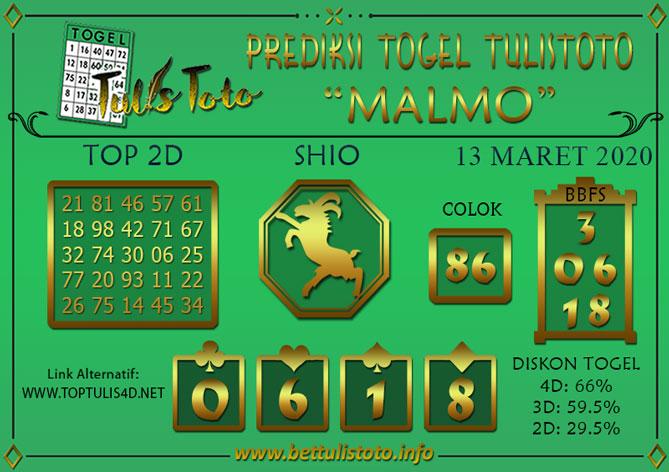 Prediksi Togel MALMO TULISTOTO 13 MARET 2020