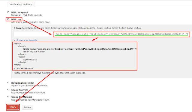 Cara Verifikasi Blog ke Google Webmaster Tool