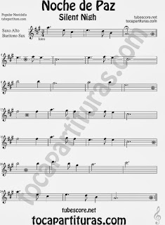 Christmas Song SILENT NIGH Sheet Music for Alto and Baritone Saxophone Music Scores
