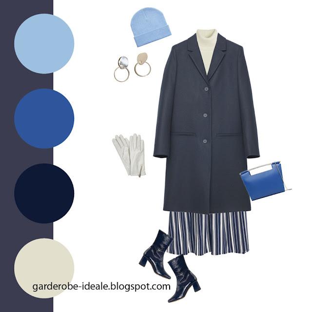 Сочетание темно-синего базового пальто с оттенками синего и голубого