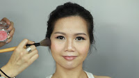 Inner Double Folded Eyelid Makeup - Apply blusher on the apple of the cheek, blend out upward motion.