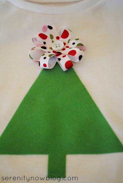 DIY Ribbon Topper for Christmas Tree Shirt, from Serenity Now
