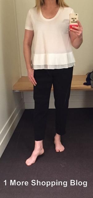 4793af96 This is my Pixie pants size at JC. The waist band is partially elastic and  the pants are very comfortable to wear. Pleated Chiffon-Hem T-Shirt ...