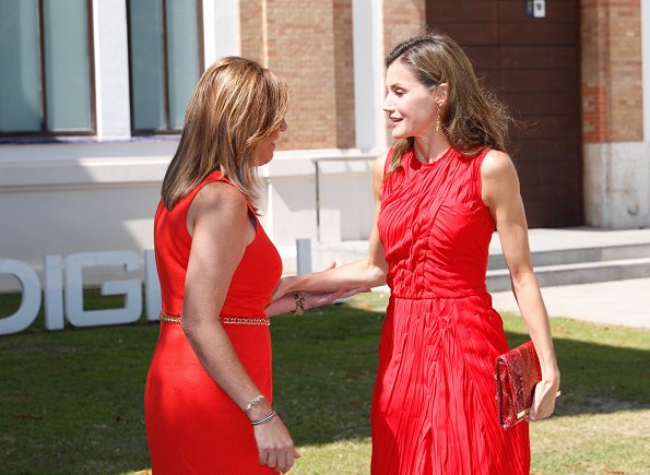 Queen Letizia wore NINA RICCI Plissé dress and carried a red Carolina Herrera animal print clutch bag