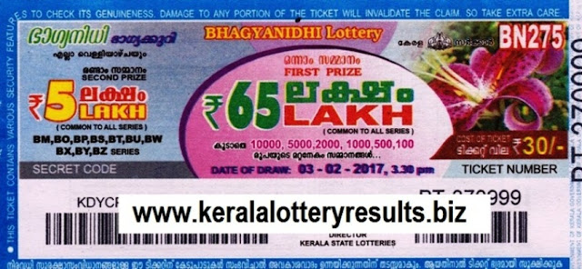 Kerala lottery result live of Bhagyanidhi (BN-274) on 27.01.2017