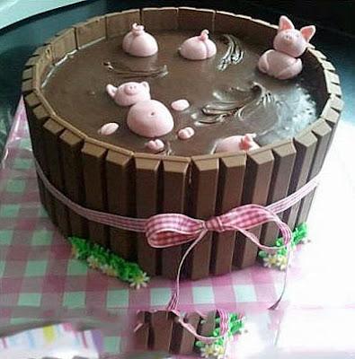 Schokoladenkuchen lustig Schweinchen