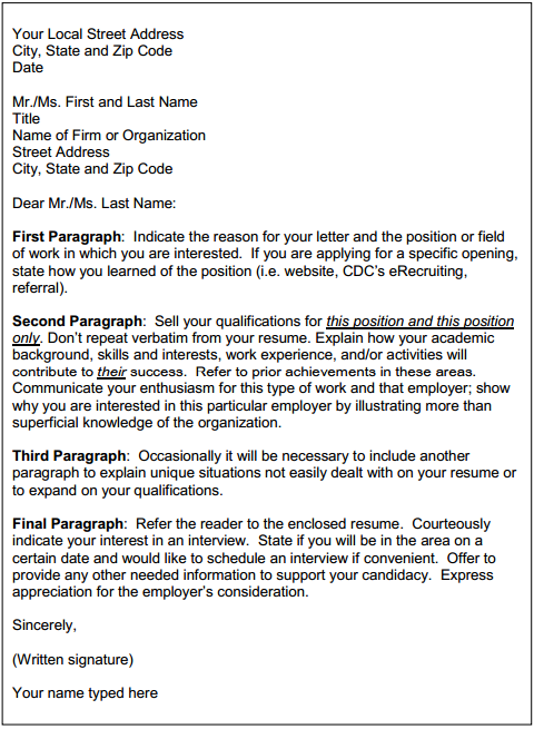 Phrases in cover letter