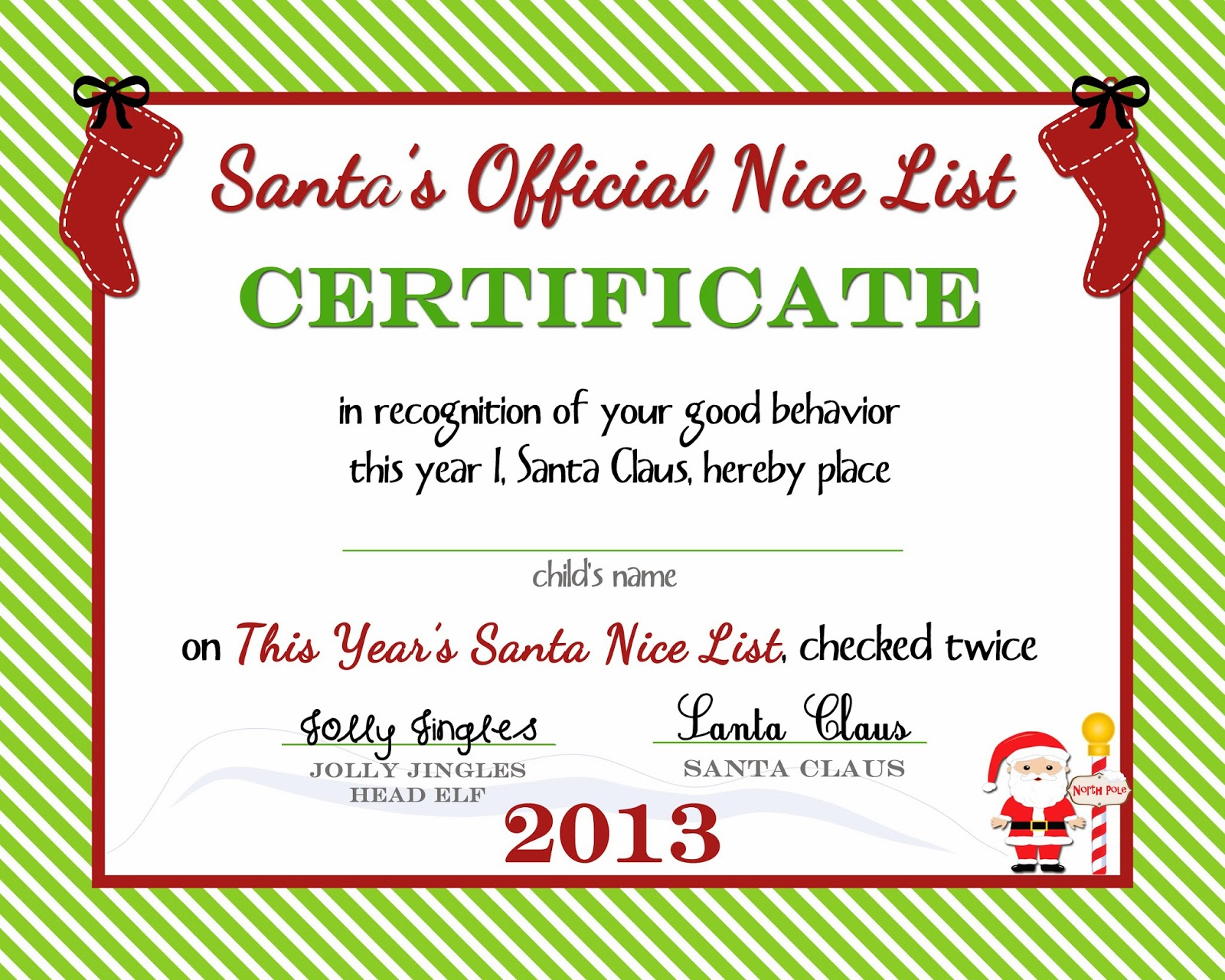 {Free Printable) Nice List Certificate from the North Pole ...