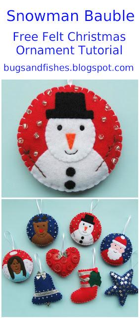 felt snowman bauble tutorial