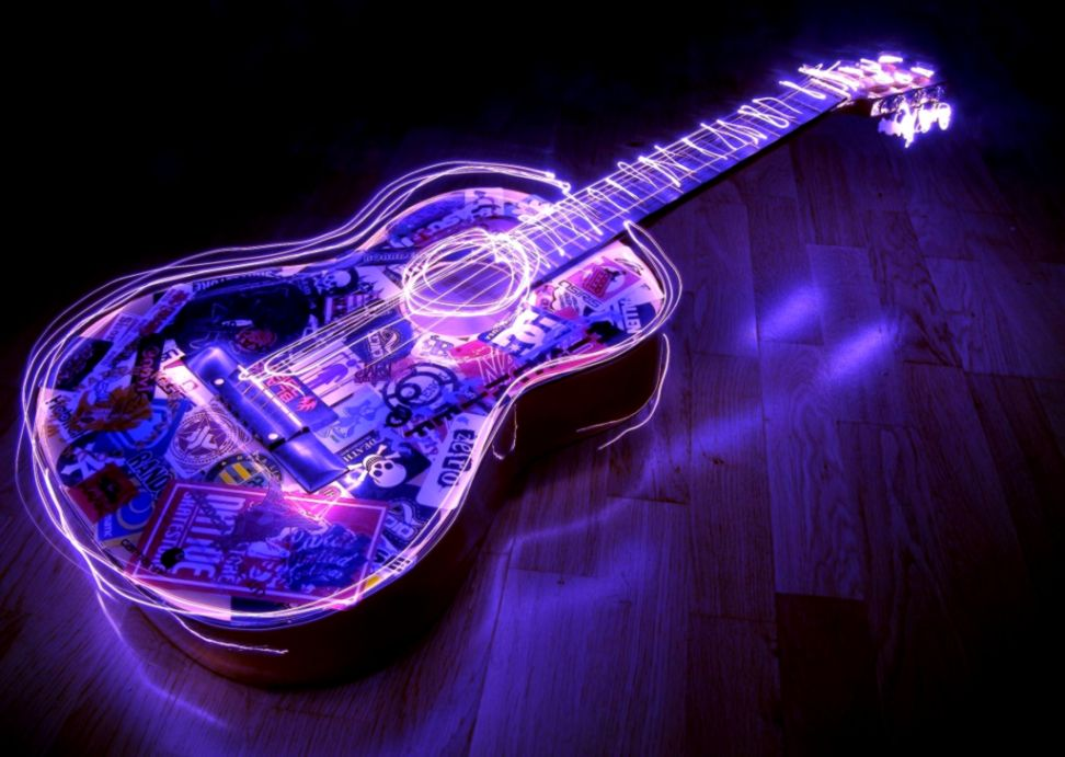 lighted guitar 3d desktop hd wallpaper 768x1024