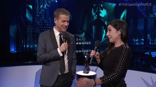 The Game Awards 2017 Rebecca Ford Warframe Geoff Keighley creepy face