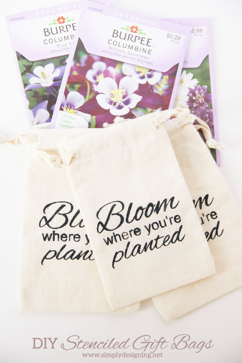 "DIY Stenciled ""Bloom"" Gift Bag 
