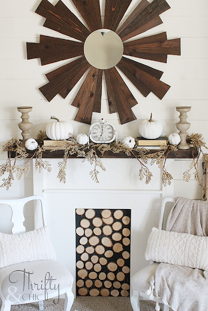 Neutral fall mantel decor. Farmhouse fall decor and decorating ideas. Pastel fall decor. How to decorate for fall. Neutral fall decorating ideas. Fall living room decor and decorating ideas. Farmhouse fall living room