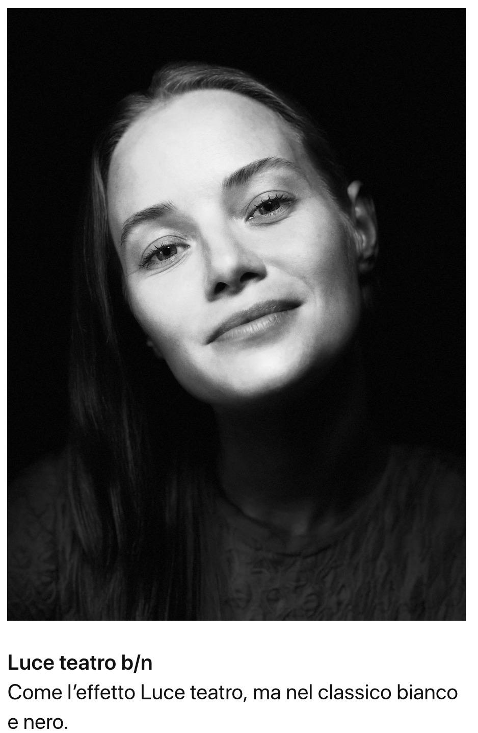 foto scattata con iphone 8 plus illuminazione ritratto luce teatro bianco e nero