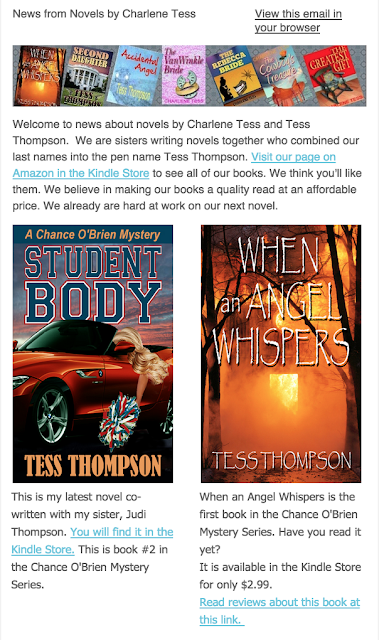 Sample Fiction Newsletter Charlene Tess