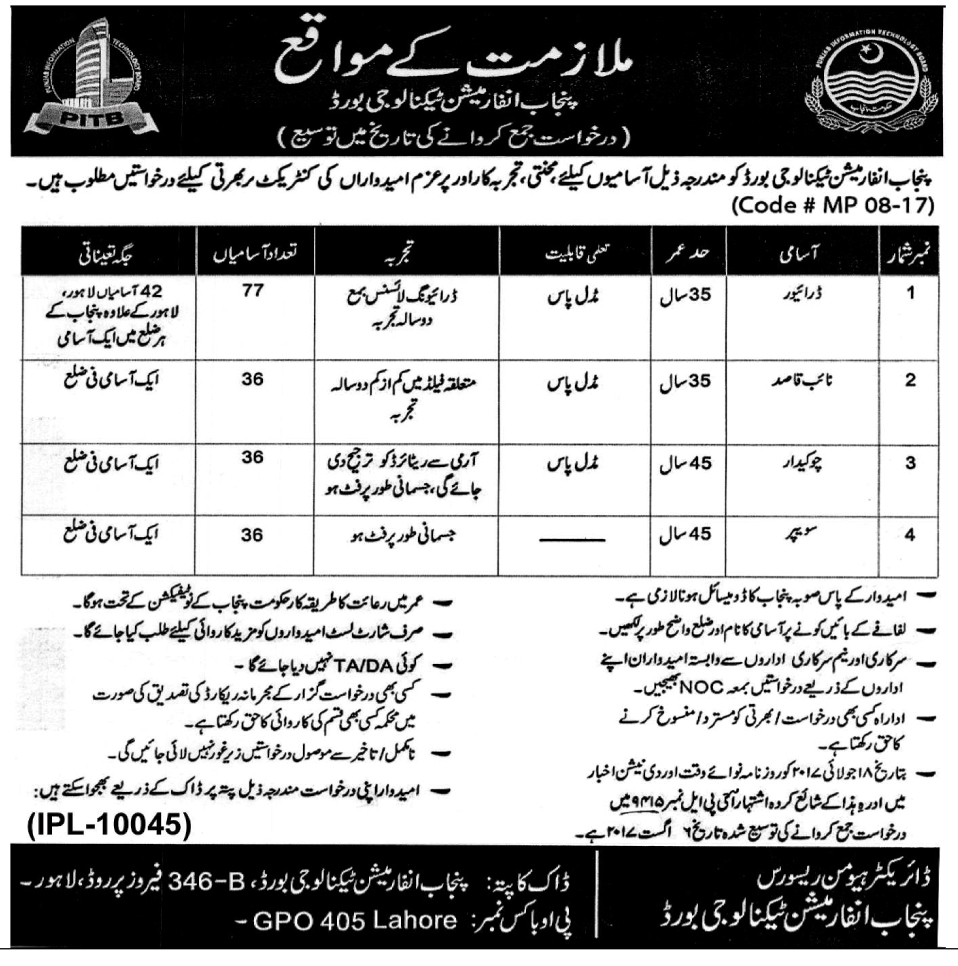 Jobs In Punjab Information Technology Board PITB Lahore 29 Jul 2017