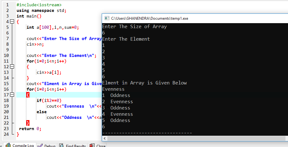 C++ Program To Check Evenness And Oddness In An Array