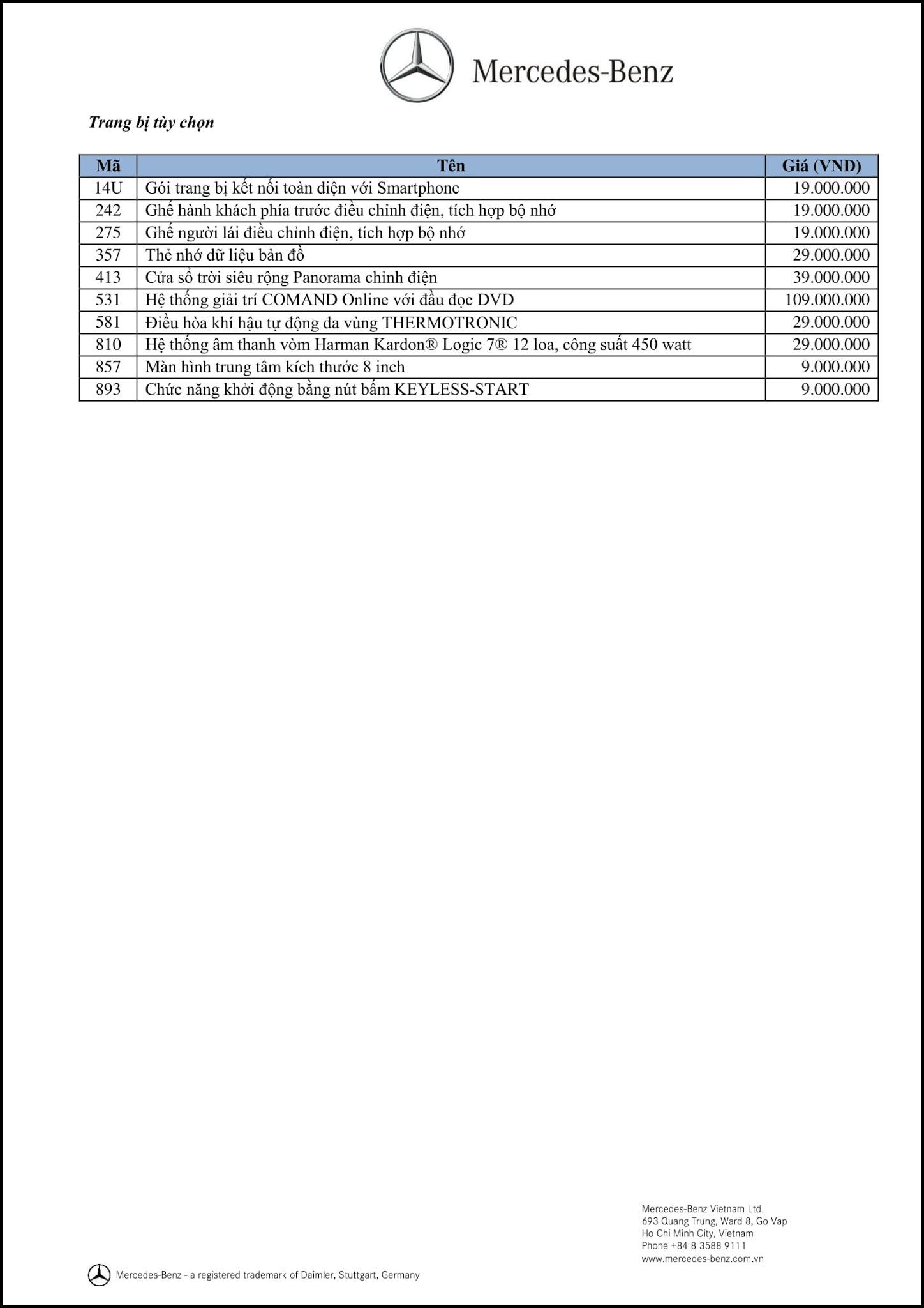 Bảng thông số kỹ thuật Mercedes A200 2019 tại Mercedes Trường Chinh