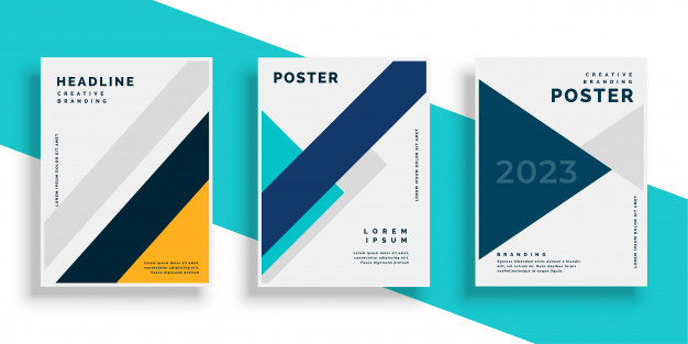 Geometric book cover flyer designs set Free Vector