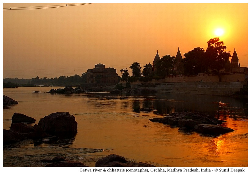 Betwa river and cenotaphs at sunset, Orchha, Madhya Pradesh, India - Images by Sunil Deepak