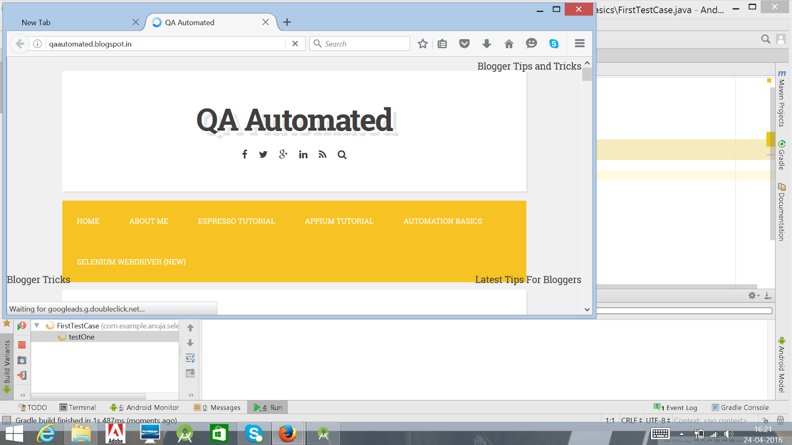 Setting up selenium webdriver in android studio qa automated you can see that test case launches firefox browser and opens the given link now you have sucessfully configured android studio with selenium webdriver and baditri Image collections