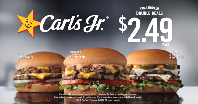 "Carl's Jr. Offers ""Charbroiled Double Deals"" for $2.49 