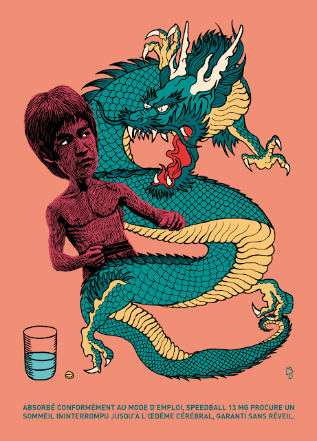 Gwen Tomahawk Bruce Lee Dragon Illustration